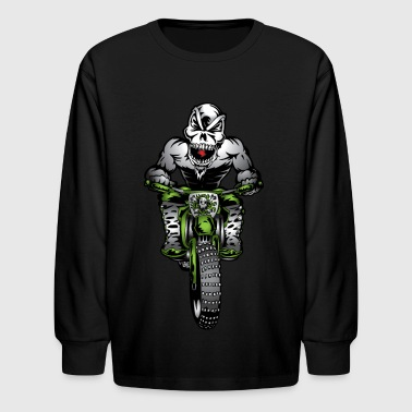 Kawasaki Motorbike Skull Monster - Kids' Long Sleeve T-Shirt