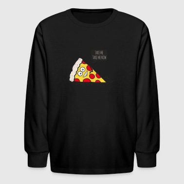 Funny Cartoon Pizza - Statement / Funny / Quote - Kids' Long Sleeve T-Shirt