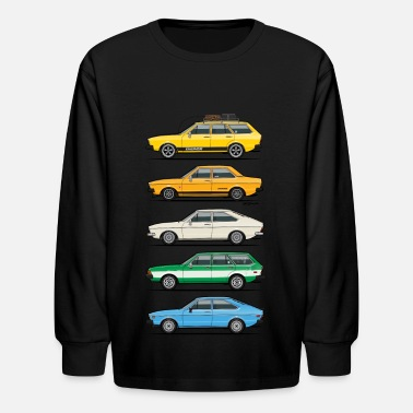 Vdub Stack of VAG B1 VDubs and Four Rings - Kids' Long Sleeve T-Shirt