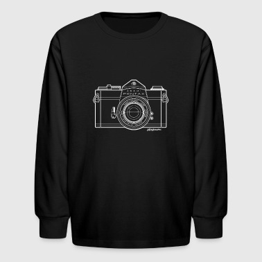 Asahi Pentax 35mm Vintage Camera Line Art (White) - Kids' Long Sleeve T-Shirt