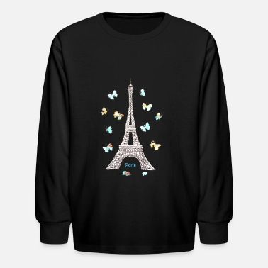 Eiffel Tower Paris Love Blue Butterflies - Kids' Long Sleeve T-Shirt