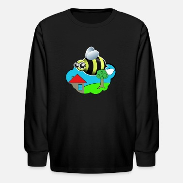Naturally Fly Flying Bumblebee in Nature - Kids' Long Sleeve T-Shirt