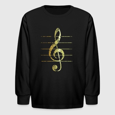G-Clef - Treble Clef - Sheet Lines (Ancient Gold) - Kids' Long Sleeve T-Shirt
