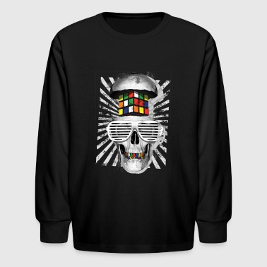 Rubiks Cube Rubik's Cube Skull With Sunglasses - Kids' Long Sleeve T-Shirt