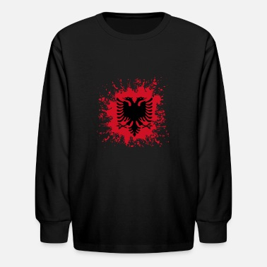 Flag Of Albania Albania Albanian Flag Splash - Kids' Longsleeve Shirt