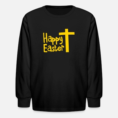 Easter Cross Happy EASTER with a Christian cross - Kids' Long Sleeve T-Shirt