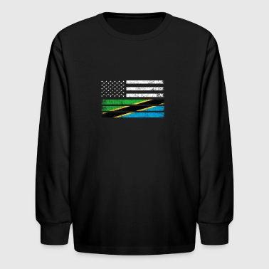 Tanzanian American Flag - USA Tanzania Shirt - Kids' Long Sleeve T-Shirt