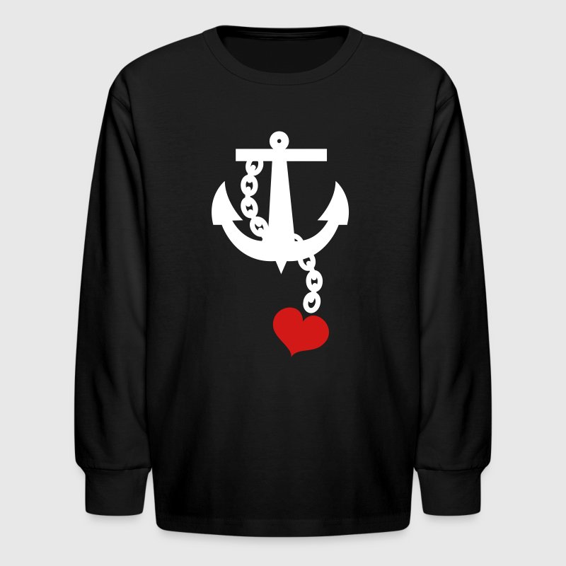 anchor with love heart - Kids' Long Sleeve T-Shirt