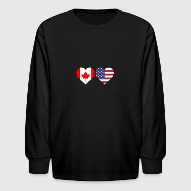 Canada American Flag Heart Canadian Maple Leaf - Kids' Long Sleeve T-Shirt