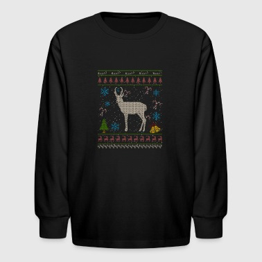 Prong Horn Sheep Hunting Christmas Ugly Holiday Shirt - Kids' Long Sleeve T-Shirt