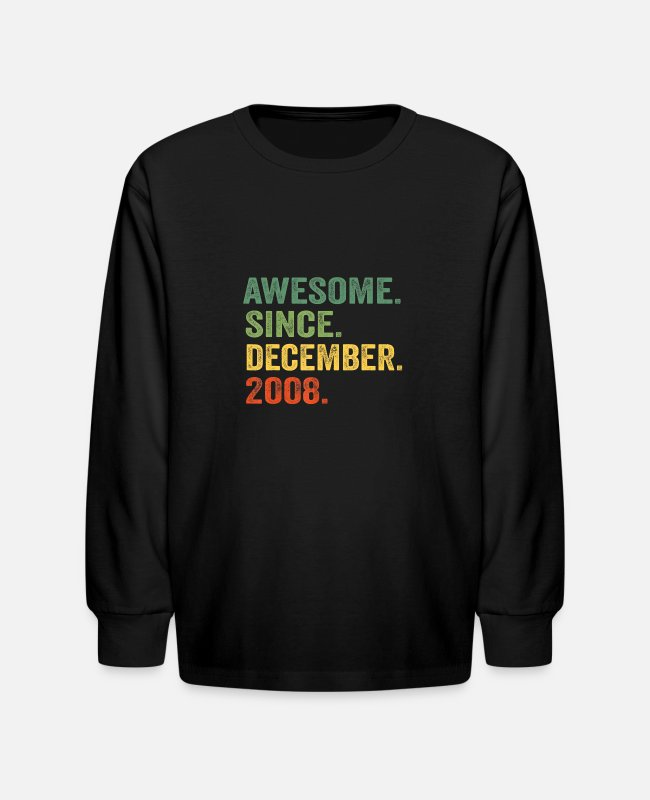 December Long-Sleeved Shirts - Awesome Since December 2008 11th Birthday 11 Yrs O - Kids' Longsleeve Shirt black