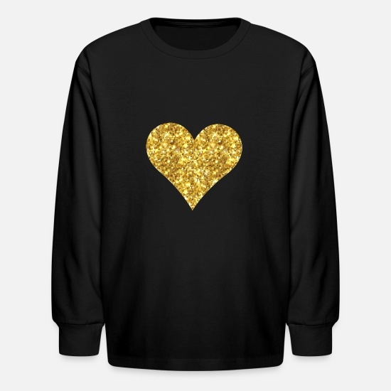 Image T-Shirts - VIP golden heart illustration vintage - Kids' Longsleeve Shirt black
