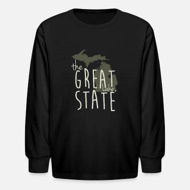 Great Lakes State The Great Lakes State Michigan Shirt Apparel Tees - Kids' Long Sleeve T-Shirt