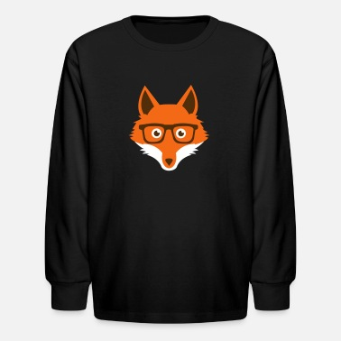 Hipster Nerd Comic Sweet Funny hipster fox with nerd glasses - Kids' Long Sleeve T-Shirt