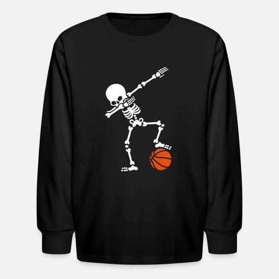 dad7f0ee Basketball T-Shirts - Dab dabbing skeleton football basketball - Kids'  Longsleeve Shirt black