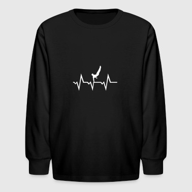 Reck Gymnast ECG Heartbeat, Gymnastics Pulse - Kids' Long Sleeve T-Shirt