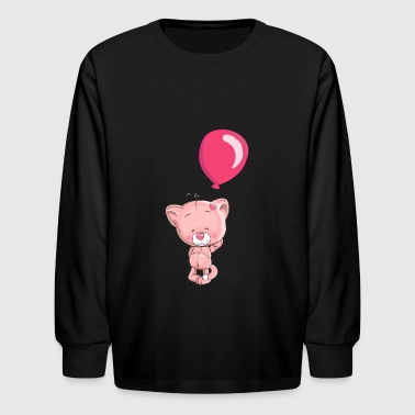 cat-smiling-balloon-heart - Kids' Long Sleeve T-Shirt