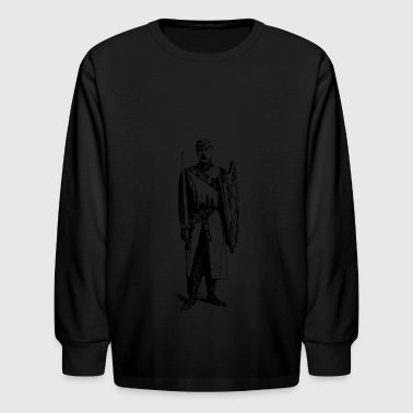 Man with Sword and Shield - Kids' Long Sleeve T-Shirt