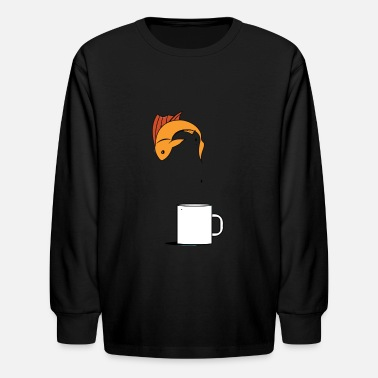 Fish Coffee Cup - Kids' Longsleeve Shirt