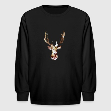 artTS tie dye deer head antlers - Kids' Long Sleeve T-Shirt