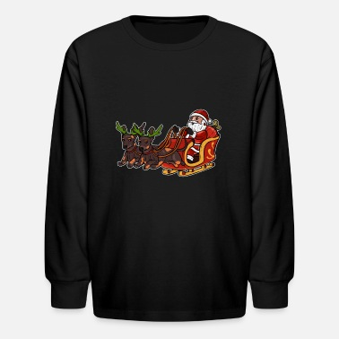 Sausage Santa with Doxies I Wiener Dog Lovers Christmas - Kids' Longsleeve Shirt
