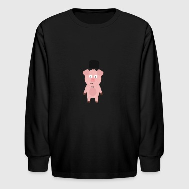Groom Pig with Hat and bow tie - Kids' Long Sleeve T-Shirt