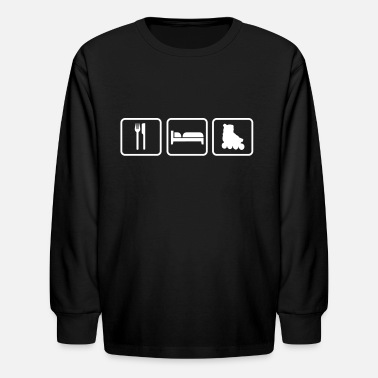 Sleep Skate Eat Sleep Skates, Roller Skates, in-line skates - Kids' Long Sleeve T-Shirt
