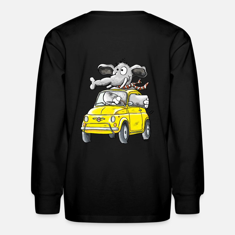 Classic Car T-Shirts - Elephant Car - Oldtimer - Kids' Longsleeve Shirt black