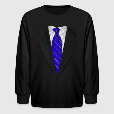 Suit and Neck Tie Real Blue - Kids' Long Sleeve T-Shirt
