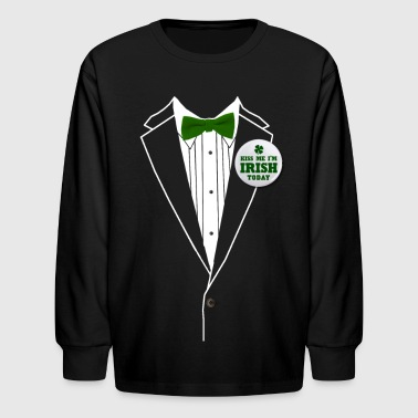 St. Patrick's Day Tux - Kids' Long Sleeve T-Shirt