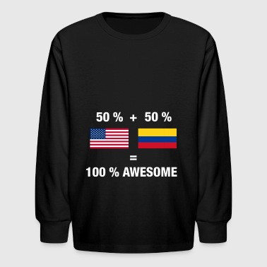 Half Colombian Half American 100% Awesome Colombia - Kids' Long Sleeve T-Shirt