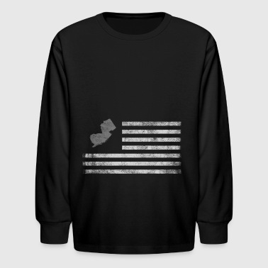 New Jersey State United States Flag Vintage USA - Kids' Long Sleeve T-Shirt