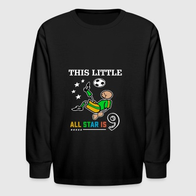 Soccer tshirts for boys 9th birthday kids gift - Kids' Long Sleeve T-Shirt
