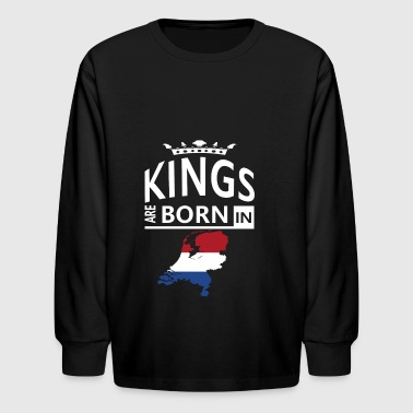 Holland Born King Pride Dutch Proud Heritage Gift - Kids' Long Sleeve T-Shirt