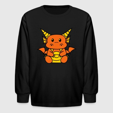 White Chibi Dragon Women's T-Shirts - Kids' Long Sleeve T-Shirt