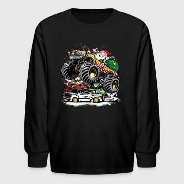 Santa Claus Monster Truck - Kids' Long Sleeve T-Shirt