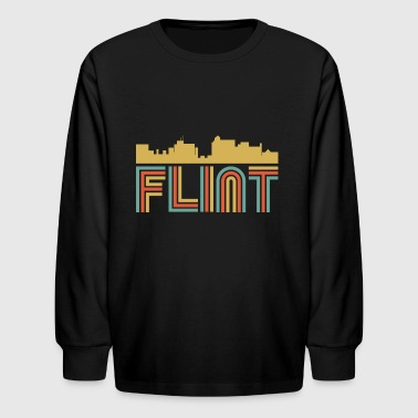 Vintage Style Flint Michigan Skyline - Kids' Long Sleeve T-Shirt
