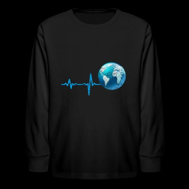 gift heartbeat earth vintage - Kids' Long Sleeve T-Shirt