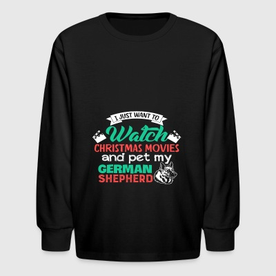 Christmas German Shepherd Lovers Festive T Shirt - Kids' Long Sleeve T-Shirt