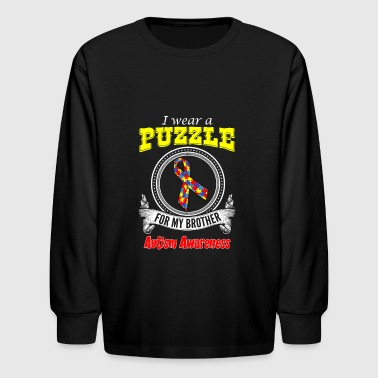 I wear a Puzzle for my Brother - Autism Awareness - Kids' Long Sleeve T-Shirt