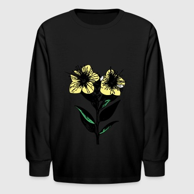 Flower Sketch - Kids' Long Sleeve T-Shirt