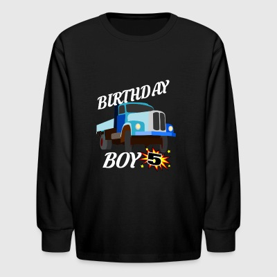 5 Years Old Birthday Shirt Truck Gift Shirt - Kids' Long Sleeve T-Shirt