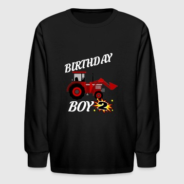 2 Years Old Birthday ShirtRed Tractor Gift - Kids' Long Sleeve T-Shirt