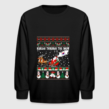 Korean Through The Snow Ugly Christmas Sweater - Kids' Long Sleeve T-Shirt