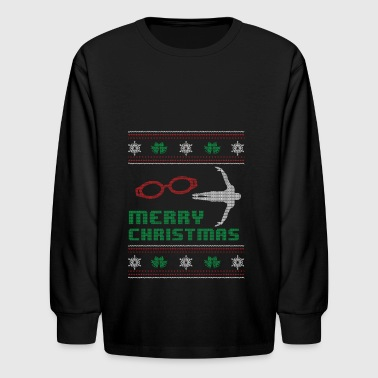 Funny Swim Swimming Shirt Merry Christmas - Kids' Long Sleeve T-Shirt