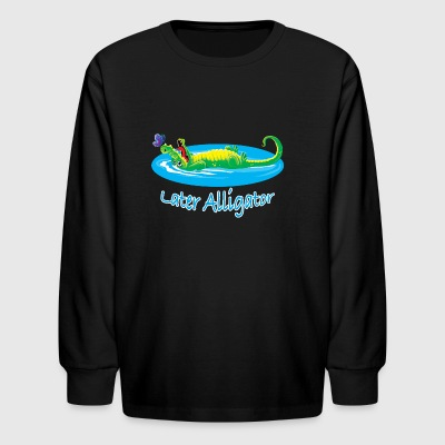Cute later alligator and butterfly design for kids - Kids' Long Sleeve T-Shirt