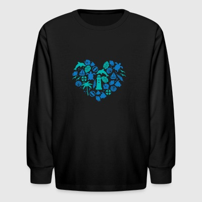 Love Sea Heart Shape Dolphin Animals Lover - Kids' Long Sleeve T-Shirt