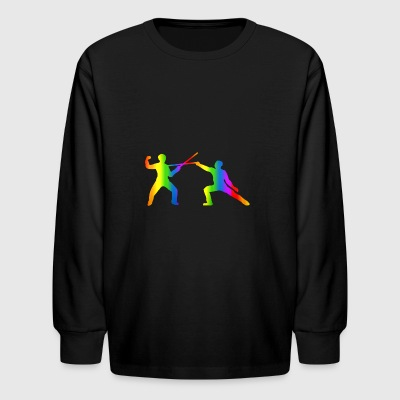 Colorful Fencing Rainbow - Kids' Long Sleeve T-Shirt