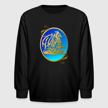 Gold Dragon 3 Oval - Kids' Long Sleeve T-Shirt