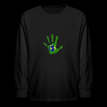 Earth Day 2018 - Hand And Globe Save The Planet - Kids' Long Sleeve T-Shirt